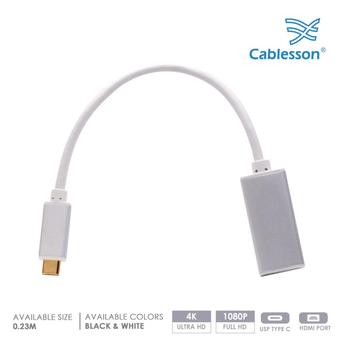 Cablesson USB Type C (M) to HDMI (F) adapter 0.23M 4K@60Hz Video (UHD Thunderbolt 3 Compatible) for Apple 12 inch Macbook, Lenovo, Huawei Matebook, ASUS Zen Book 3, Samsung S9, Mate 10, P20 - White