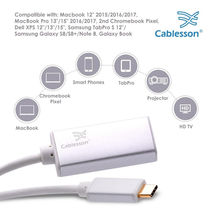Cablesson USB Type C to HDMI Adapter 0.23m - Male to Female - 4K@60Hz