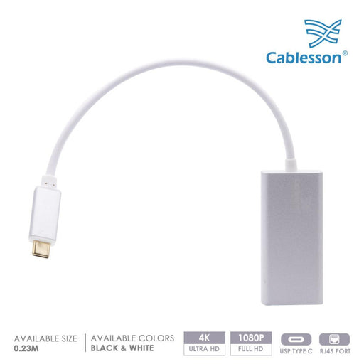 Cablesson USB Type C to RJ45 Adapter 0.23m - Male to Male - 1000m