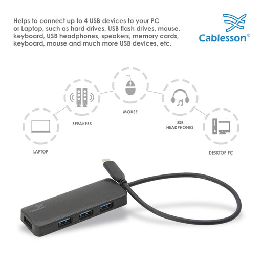 Cablesson USB-C to 4 x USB 3.0 HUB Cable 250mm - Black & White