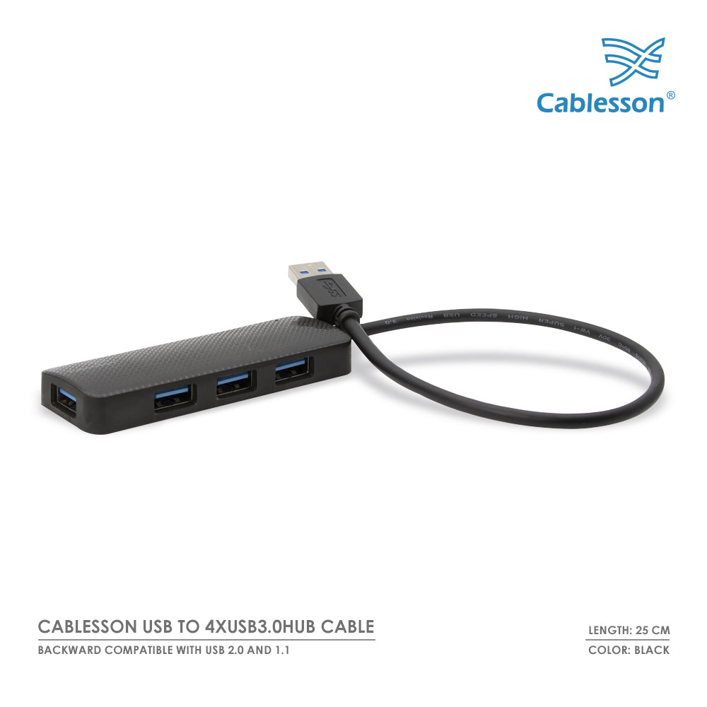 Cablesson USB to 4 x USB 3.0 HUB Cable 250mm - Black & White