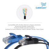 Cablesson Cat6 Flat Cable- 1m - 2 Pack (Black/Blue) - 10/100/1000 Mbit/s, Gigabit LAN Network Cable, Flat, Slim, ribbon, ideal for flooring , laminate, parquet , border strips , skirting boards , carpets