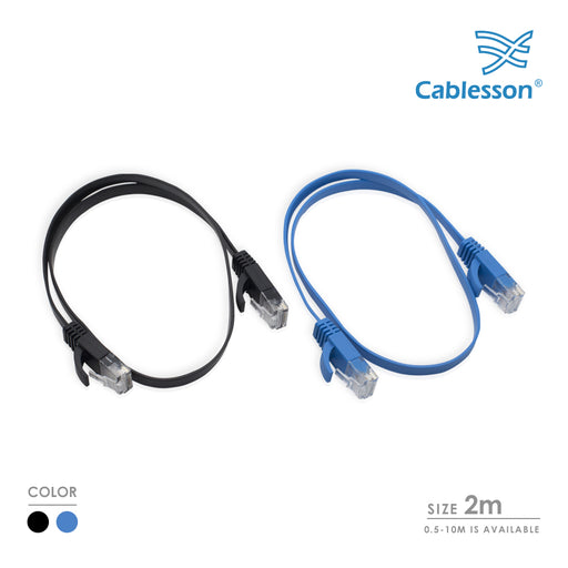 Cablesson Cat6 Flat Cable- 2m - 2 Pack (Black/Blue) - 10/100/1000 Mbit/s, Gigabit LAN Network Cable, Flat, Slim, ribbon, ideal for flooring , laminate, parquet , border strips , skirting boards , carpets - HDMICOUK