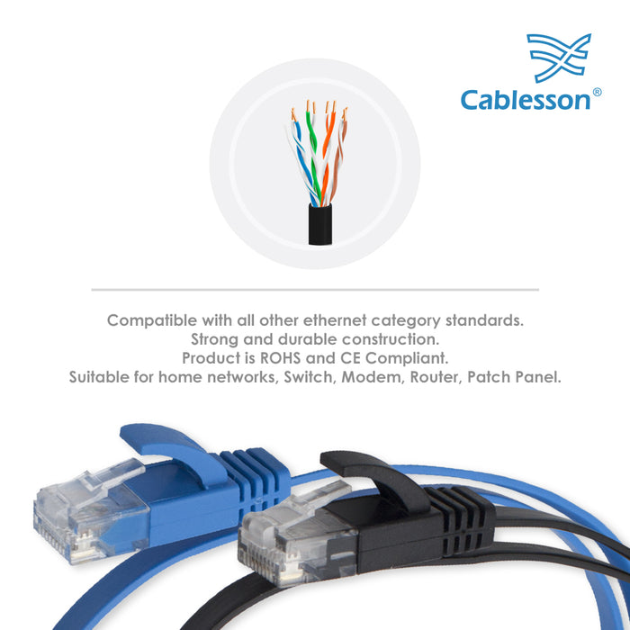 Cablesson Cat6 Flat Cable- 3m - 2 Pack (Black/Blue) - 10/100/1000 Mbit/s, Gigabit LAN Network Cable, Flat, Slim, ribbon, ideal for flooring , laminate, parquet , border strips , skirting boards , carpets - HDMICOUK