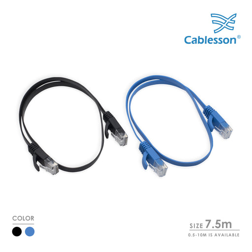 Cablesson Cat6 Flat Cable- 7.5m - 2 Pack (Black/Blue) - 10/100/1000 Mbit/s, Gigabit LAN Network Cable, Flat, Slim, ribbon, ideal for flooring , laminate, parquet , border strips , skirting boards , carpets - HDMICOUK