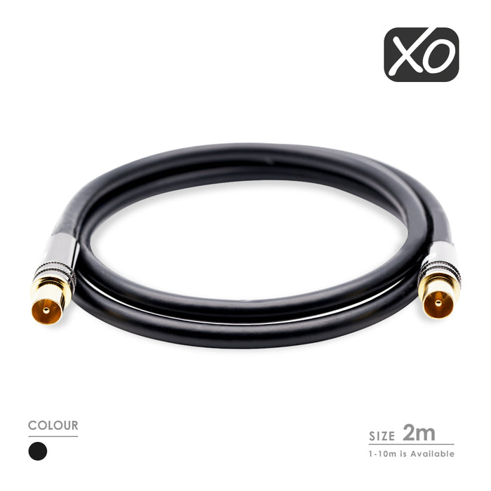 XO - 2m Male to Male Shielded TV/AV Aerial Coaxial Cable with Gold Plated Connector and Metal Plug - Black - hdmicouk