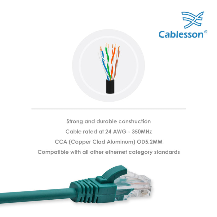 Cablesson Ethernet Cable - 0.5m - Cat5e (5 Pack + Cable Ties) Networking Cord Patch Cable RJ45 10 Gigabit 100Mhz Lan Wire Cable STP for Modem, Router, PC, Mac, Laptop, PS2, PS3, PS4, XBox, and XBox 360. - HDMICOUK