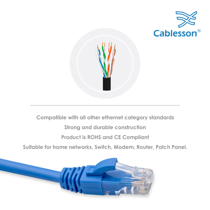 Cablesson - 5m - Cat6 Ethernet Gigabit Lan network cable (RJ45), 10/100/1000Mbit/s, Patch cable, compatible with CAT.5, CAT.5e, CAT.7,  Switch, Router, Modem, Patch panel, Access Point, patch fields, Blue - HDMICOUK