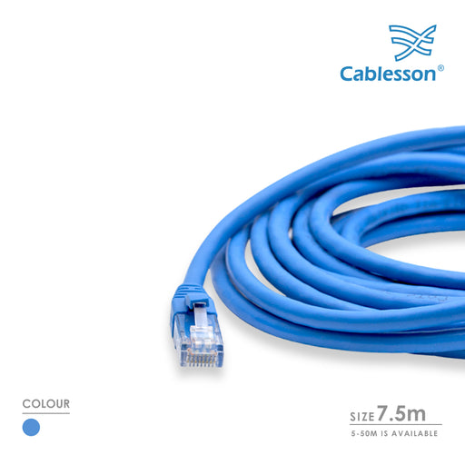 Cablesson  7.5m Cat6 Ethernet LAN cable RJ45 Connector Blue - hdmicouk