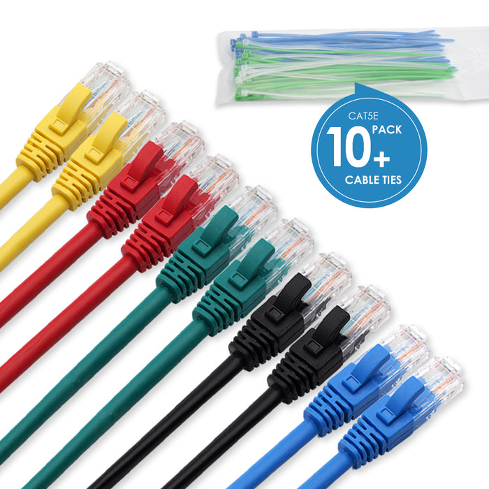 Cablesson 0.5m Cat5e Ethernet Cable 10 Pack With Cable Ties - hdmicouk