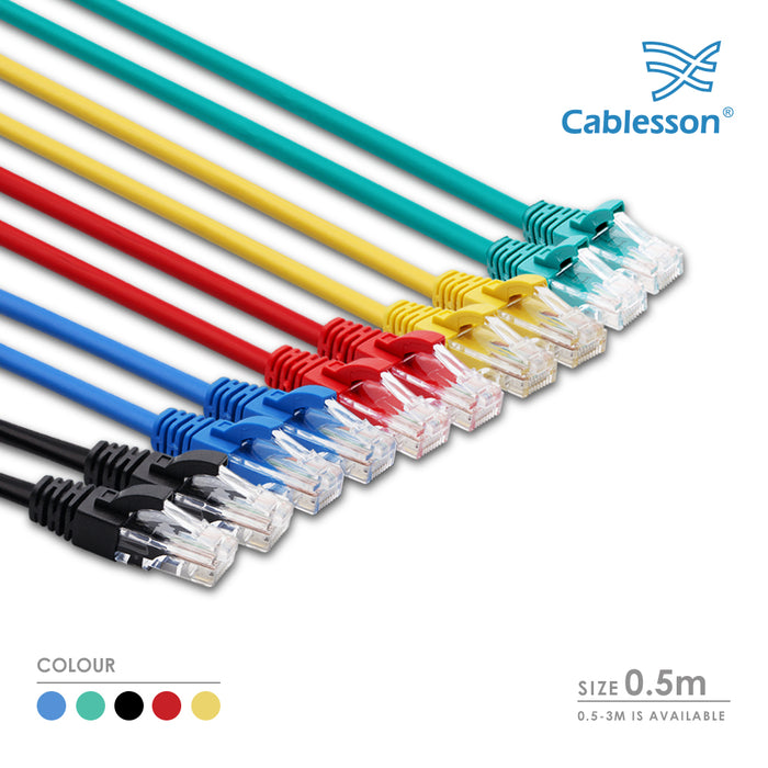 Cablesson Ethernet Cable - 0.5m - Cat5e (10 Pack + Cable Ties) Networking Cord Patch Cable RJ45 10 Gigabit 100Mhz Lan Wire Cable STP for Modem, Router, PC, Mac, Laptop, PS2, PS3, PS4, XBox, and XBox 360. - HDMICOUK