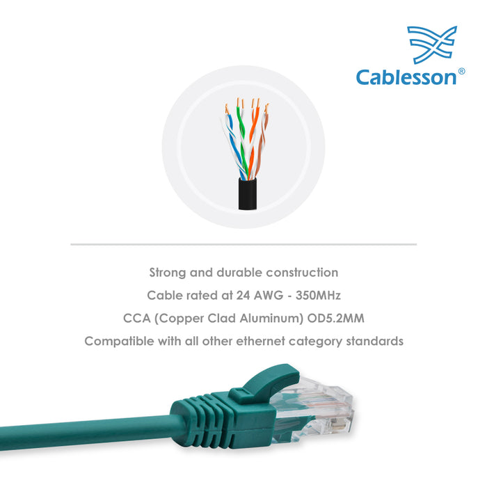 Cablesson Ethernet Cable - 3m - Cat5e (10 Pack + Cable Ties) Networking Cord Patch Cable RJ45 10 Gigabit 100Mhz Lan Wire Cable STP for Modem, Router, PC, Mac, Laptop, PS2, PS3, PS4, XBox, and XBox 360.