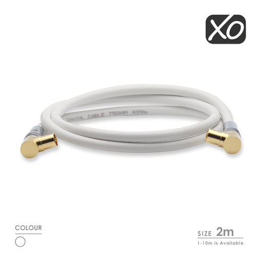 XO - 2m Male to Male Shielded TV/AV Aerial Coaxial Cable with Right Angled Gold Plated Connectors -White - hdmicouk