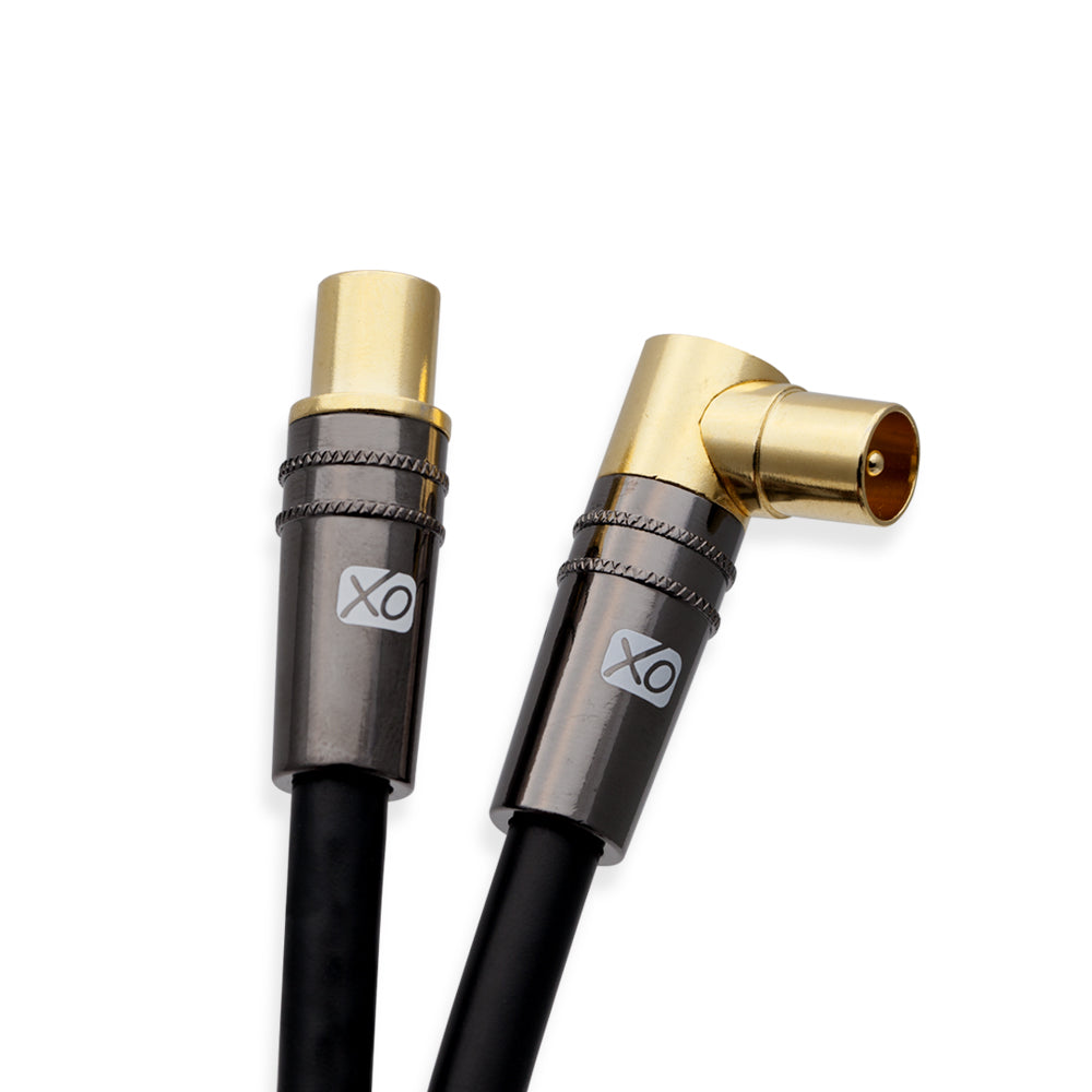 XO - 3m Male to Male Shielded TV/AV Aerial Coaxial Cable with 90 Degree Right - Black - hdmicouk
