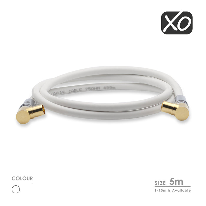 XO -Male to Male Shielded TV/AV Aerial Coaxial Cable Right Angled Gold Plated Connectors - White - hdmicouk