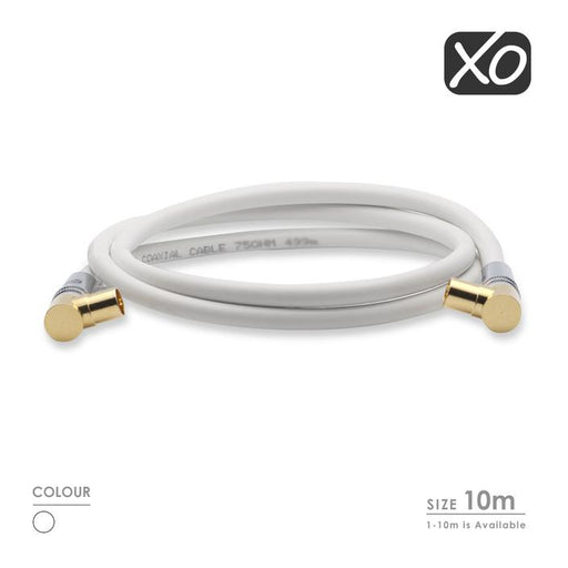 XO Male to Male Shielded TV/AV Aerial Coaxial Cable with 90 Degree Right Angled Gold Plated Connectors - hdmicouk