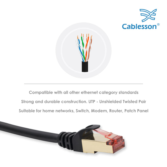 Cablesson Ethernet Cable 15m Cat7 Gigabit Lan Network RJ45 High Speed Patch Cord Design 10Gbps for 600Mhz/s STP Molded for Switch, Router, Modem,Patch Panel,PC and more, Black - HDMICOUK