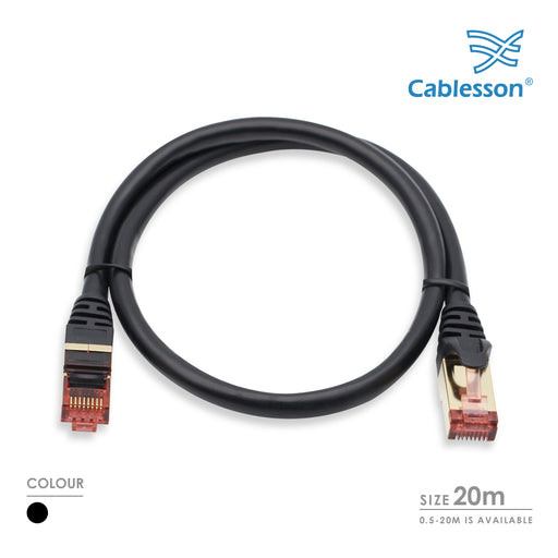 Cablesson 20m Ethernet Cable Cat7 LAN Cable With RJ45 - Black - hdmicouk