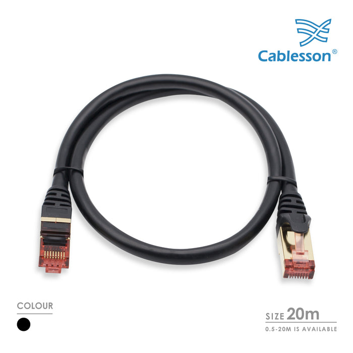 Cablesson Ethernet Cable 20m Cat7 Gigabit Lan Network RJ45 High Speed Patch Cord Design 10Gbps for 600Mhz/s STP Molded for Switch, Router, Modem,Patch Panel,PC and more, Black