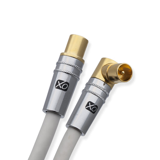 XO - 5m Male to Male Shielded TV/AV Aerial Coaxial Cable with 90 Degree Right Angled Gold Plated Connector and Metal Plug For UHF / RF TVs, VCRs, DVD players, DVRs, cable boxes and satellite - White