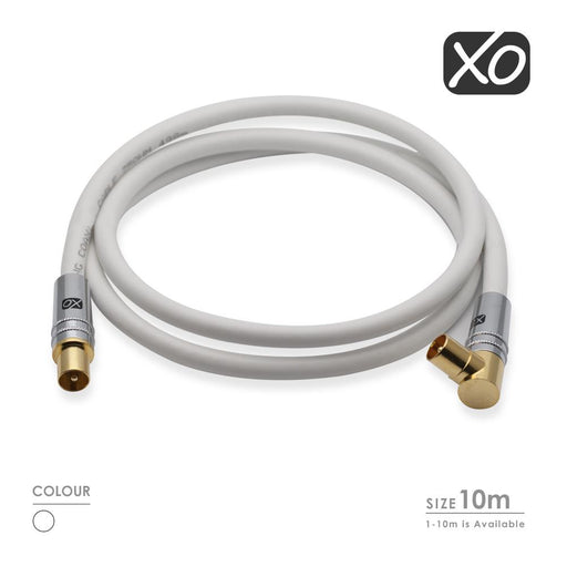 XO -Male to Male Shielded TV/AV Aerial Coaxial Cable -White - hdmicouk