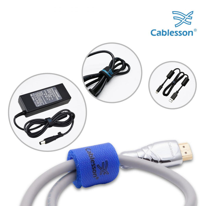 Cablesson Reusable Releasable Hook and Loop Nylon Velcro Cable Ties - Pack of 20 - Chunky Pack - Straps and Keep wire cord tidy - Blue - HDMICOUK