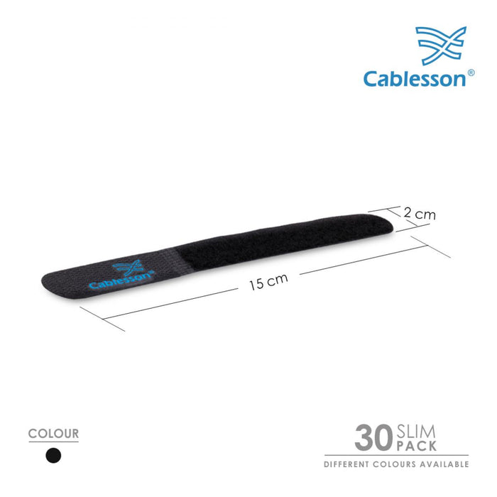 Cablesson Reusable Releasable Hook and Loop Nylon Velcro Cable Ties - Pack of 30 - Black - Straps and Keep wire cord tidy