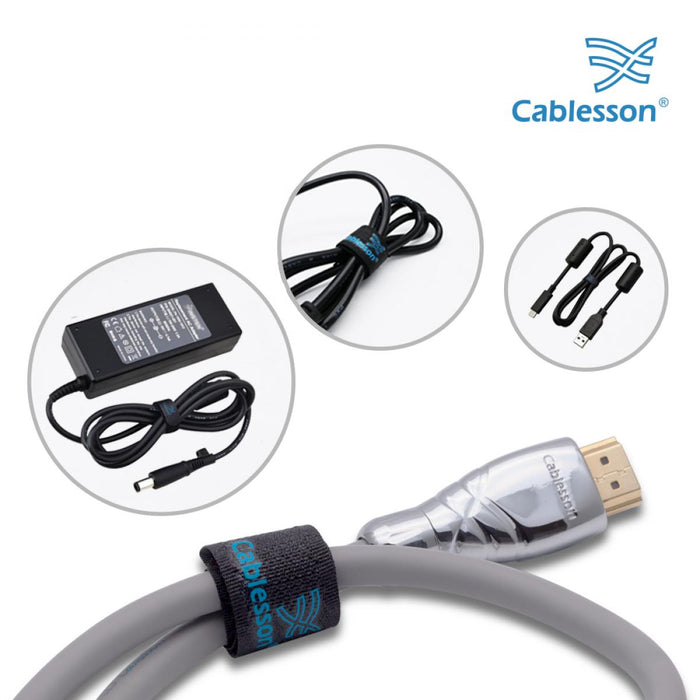Cablesson Reusable Releasable Hook and Loop Nylon Velcro Cable Ties - Pack of 30 - Black - Straps and Keep wire cord tidy - HDMICOUK