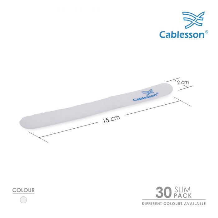 Cablesson Hook and Loop Nylon Velcro Cable Ties Slim Pack of 30 - White - hdmicouk