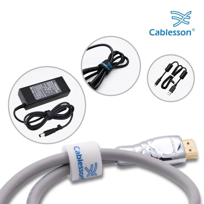 Cablesson Reusable Releasable Hook and Loop Nylon Velcro Cable Ties - Pack of 50  - Slim Pack - Straps and Keep wire cord tidy - White