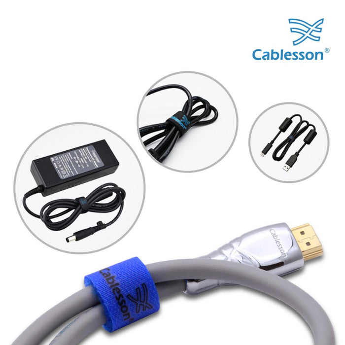 Cablesson Reusable Releasable Hook and Loop Nylon Velcro Cable Ties - Pack of 10  - Slim Pack - Straps and Keep wire cord tidy - Blue - HDMICOUK