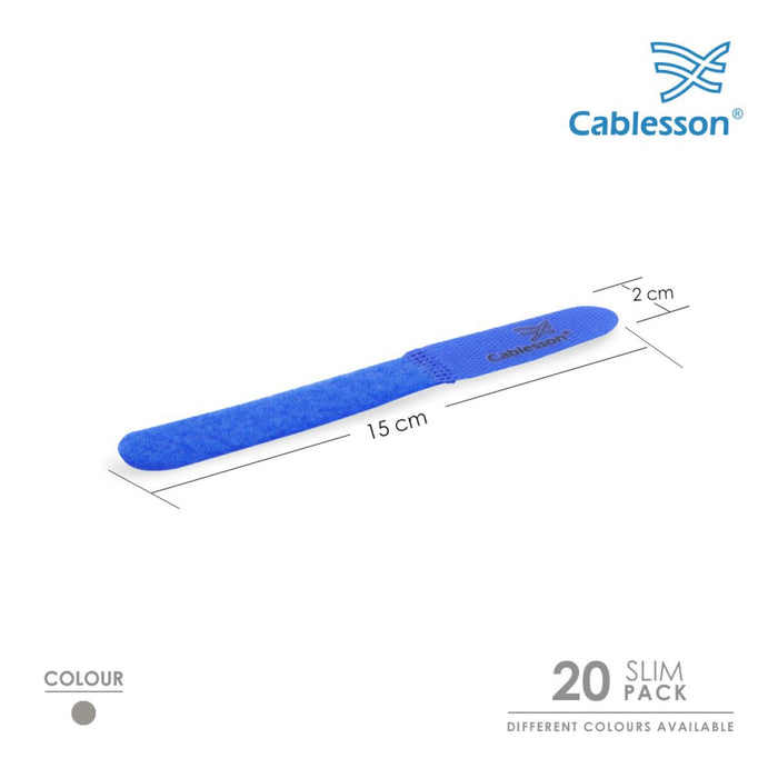 Cablesson Reusable Releasable Hook and Loop Nylon Velcro Cable Ties - Pack of 20  - Slim Pack - Straps and Keep wire cord tidy - Blue - HDMICOUK