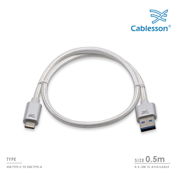 Cablesson Maestro USB C to USB A Cable 1.6ft (0.5m) (C to A) for Samsung S8, Nintendo Switch, the new MacBook, Chromebook Pixel, Nexus 5X& 6P, Nokia N1 Tablet, OnePlus 2 and More USB Type-C Devices. - HDMICOUK