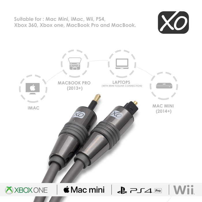 XO 2m Mini TOSLINK to Optical Digital S/PDIF Audio Cable Lead AV - hdmicouk