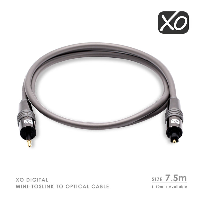 XO 7.5m Mini TOSLINK to Optical Digital S/PDIF Audio Cable Lead AV - hdmicouk