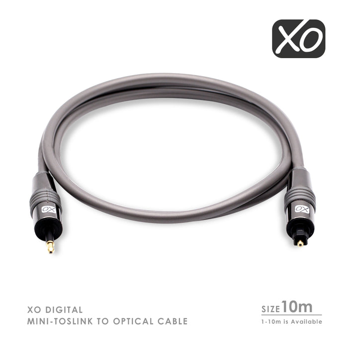 XO 10m  Mini TOSLINK to Optical Digital S/PDIF Audio Cable Lead AV - hdmicouk