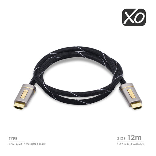 12M (12 Meter) XO PLATINUM HDMI TO HDMI Cable *New 2.0/1.4 Version High-Speed with ETHERNET and 3D 21Gbps* FULL HD 2160p/1080p for XBOX 360, PS3, PS4, SKYHD, VIRGIN BOX, DVD, BLU-RAY, UHD, LCD, LED, PLASMA, Dolby TrueHD, Samsung LG SONY PANASONIC HDTV - HDMICOUK