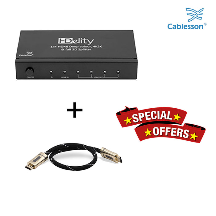 Cablesson HDelity 1x4 HDMI splitter with 4K2K with XO Platinum 0.5m High Speed HDMI Cable with Ethernet - Black