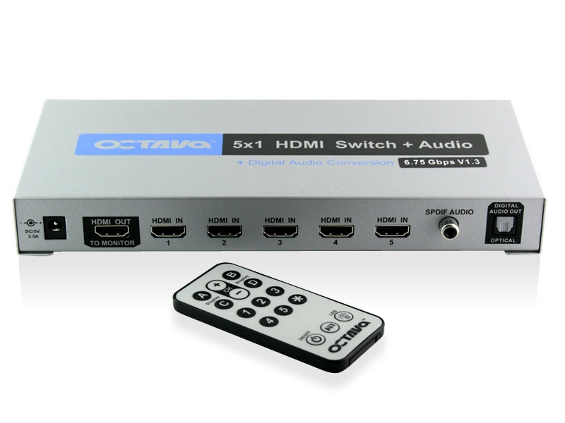 Octava HDSA51-UK 5 x 1 HDMI Audio Switch + Digital Audio Outputs (1080p, SKY HD, Virgin HD, Freeview HD, XBOX 360 PS3) - hdmicouk
