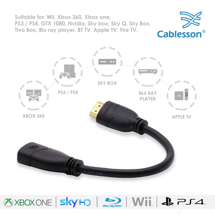 Cablesson Basic 0.5m High Speed HDMI Extension Cable (HDMI Type A, HDMI 2.1/2.0b/2.0a/2.0/1.4) - 4K, 3D, UHD, ARC, Full HD, Ultra HD, 2160p, HDR - for PS4, Xbox One, LCD, LED, UHD, 4k TVs - Black - HDMICOUK