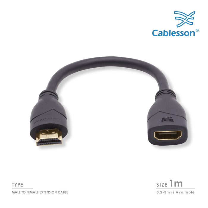Cablesson Basic 1m High Speed HDMI Extension Cable (HDMI Type A, HDMI 2.1/2.0b/2.0a/2.0/1.4) - 4K, 3D, UHD, ARC, Full HD, Ultra HD, 2160p, HDR - for PS4, Xbox One, LCD, LED, UHD, 4k TVs - Black - HDMICOUK