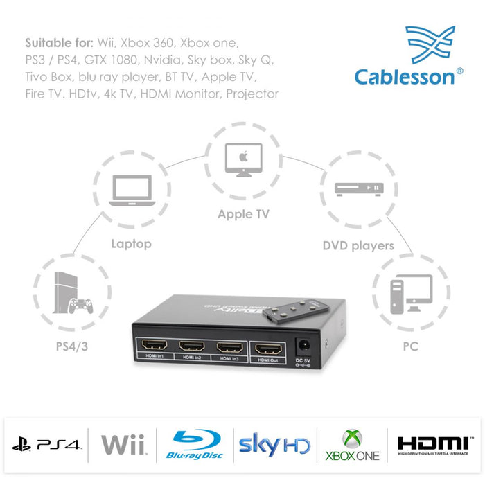 Cablesson HDelity Basic 3 x 1 HDMI 4K Switch With Remote Control - 3 Port Selector Switcher HDMI - hdmicouk
