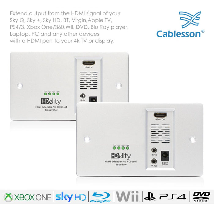 Cablesson HDelity HD BaseT Wall Plate Extender - 70m - hdmicouk
