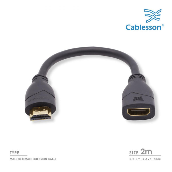 Cablesson Basic 2m High Speed HDMI Extension Cable - Black - hdmicouk