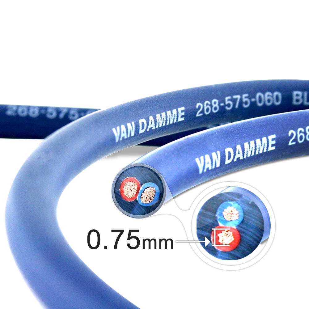 Van Damme Professional Blue Series Studio Grade 2 x 0.75 mm (2 core) Twin-Axial Speaker Cable 268-575-060 8 Metre / 8M - hdmicouk