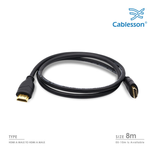 Cablesson Basic 8m High Speed HDMI Cable Black - hdmicouk