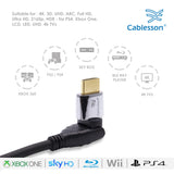 Cablesson Ivuna Flex Plus 3m High Speed HDMI Cable (HDMI Type A, HDMI 2.1/2.0b/2.0a/2.0/1.4) - 4K, 3D, UHD, ARC, Full HD, Ultra HD, 2160p, HDR - **rotating and swiveling connectors** - Black