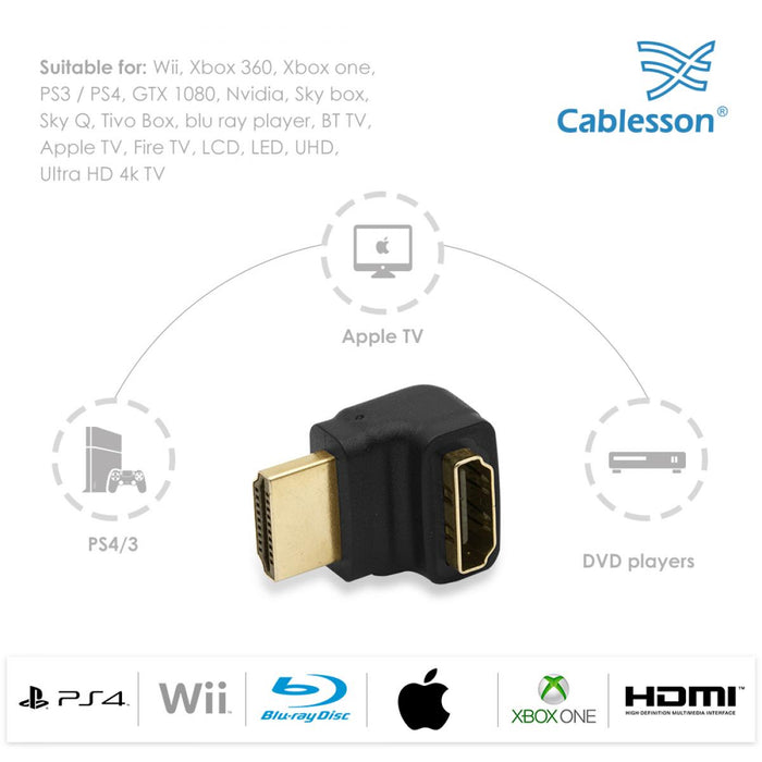 Cablesson Right-Angle 270 Degree HDMI Adapter (24K Gold Plated v1.3 & v1.4 & 2.0 supported 1080p Full HD) - High Speed - 2160p, 4k2k - 3D Enabled Blu-ray SkyHD VirginHD Blu-ray LED LCD HDtv - Black - HDMICOUK