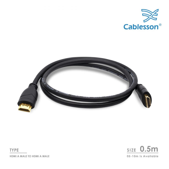 Cablesson Basics 0.5m (0.5 Meter) High Speed HDMI Cable with Ethernet - (Latest 2.0/1.4a Version, 21Gbps) Gold HDMI Cable with ETHERNET Compatibility, PS4, FULL HD, 1080P, 2160p, LCD, 4K - HDMICOUK
