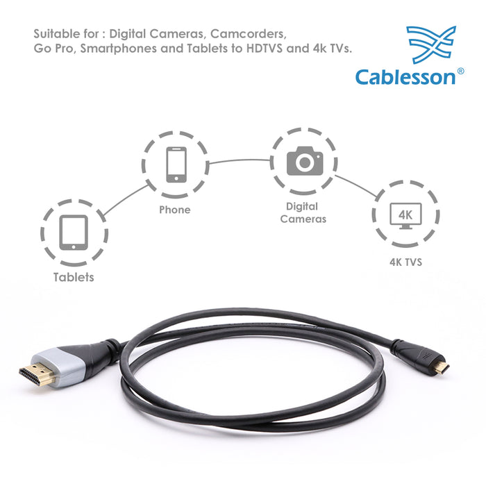 Cablesson Ivuna 1m Micro Type D HDMI to HDMI High Speed Cable with Ethernet - hdmicouk